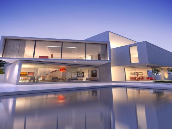 construction moderne villa de luxe